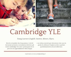Young Learners English: Starters, Movers, Flyers Rivolti ai bambini che frequentano i cicli di istruzione primaria e secondaria inferiore.