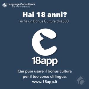 18 app Bonus Cultura corsi di inglese a Milano